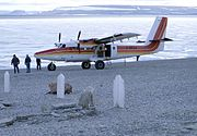 "de Havilland Canada DHC-6 Twin Otter on Beechey Island at seamen graves of John Franklin expedition (Nunavut, Canada) c. 1997. Note the ""tundra tyres."""