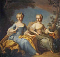 Two Archduchesses of Austria in aulic attire - Pierre Benevault - 1759.jpg