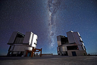 Optical telescope - Two of the four Unit Telescopes that make up the ESO's VLT, on a remote mountaintop, 2600 metres above sea level in the Chilean Atacama Desert.