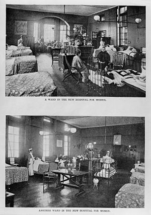 Elizabeth Garrett Anderson and Obstetric Hospital - Two wards of the New Hospital for Women. From a magazine of 1899.