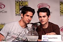Tyler posey and dylan o brien speaking at the 2013 wondercon at the