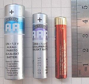 An AA battery, an AAA and an AAAA Battery