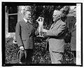 U.S.J. Dunbar presents Pres. Coolidge with statue of Walter Johnson, 10-22-24 LOC npcc.12420.jpg