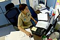 U.S. Navy Religious Program Specialist 1st Class Cecilia Marrero, selected for promotion to chief petty officer, reviews paperwork in the chaplain's office on Naval Air Facility Atsugi, Japan, Aug. 13 130813-N-OX321-017.jpg