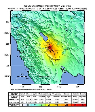 1979 Imperial Valley earthquake - USGS shakemap showing the intensity of the 6.4 Mw mainshock