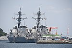 USS Curtis Wilbur (DDG-54) & Benfold (DDG-65) left rear view at U.S. Fleet Activities Yokosuka April 30, 2018 01.jpg