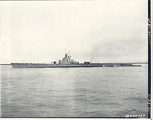 Pargo (SS-264), underway on 28 May 1945, off Mare Island, CA.