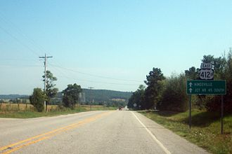 Special routes of U.S. Route 412 - US 412B near its northern terminus at US 412.