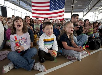 Chièvres Air Base - Children react as Elmo comes on stage during the Sesame Street/USO Experience for military families at Chièvres Air Base in Belgium September 13, 2009.