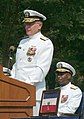 US Navy 030815-N-2383B-111 Rear Adm. Barry C. Black, Chief of Navy Chaplains listens to Adm. Vern Clark, Chief of Naval Operations (CNO) make remarks at his change of office and retirement ceremony held at the Washington Navy Y.jpg
