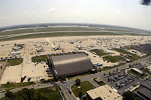 Joint Base Andrews - Aerial view of the Andrews flight line in May 2004.