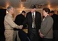 US Navy 070220-N-5567K-111 Rear Adm. Mark Balmert, commander, Expeditionary Strike Group Five (ESG-5), bids farewell to Congressman John Murtha from the 12th Congressional District, Penn., aboard amphibious assault ship USS Bon.jpg
