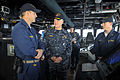 US Navy 100106-N-8273J-122 Chief of Naval Operations (CNO) Adm. Gary Roughead, middle, visits with Sailors on the bridge of the guided-missile destroyer USS Sampson (DDG 102).jpg