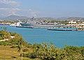 US Navy 100202-N-1082Z-013 The amphibious dock landing ship USS Ashland (LSD 48) is moored at Naval Station Guantanamo Bay, Cuba onloading humanitarian relief supplies for Haiti earthquake victims.jpg