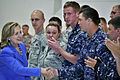 US Navy 101029-N-5539C-002 U.S. Secretary of State Hillary Rodham Clinton Hillary Rodham Clinton greets service members at Andersen Air Force Base.jpg