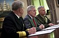 US Navy 110314-N-5549O-023 Chief of Naval Operations (CNO) Adm. Gary Roughead, left, Secretary of the Navy (SECNAV) the Honorable Ray Mabus, and Co.jpg