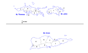 Districts and sub-districts of the United States Virgin Islands - Image: US Virgin Islands admin divisions
