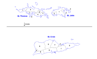 Districts and sub-districts of the United States Virgin Islands administrative divisions