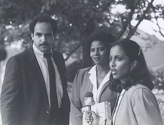 Uma Pemmaraju - Pemmaraju interviewing candidates Curt Anderson and Georgia Goslee for WMAR-TV in 1982