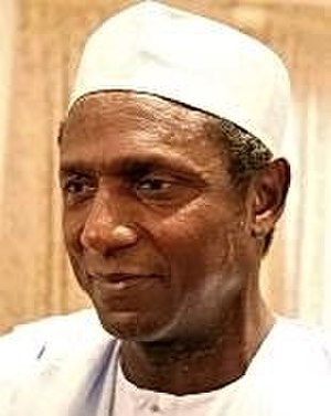 Kufi - The late President Umaru Yar'Adua of Nigeria, a chieftain of the Fula emirate of Katsina, wearing a crown style kufi.