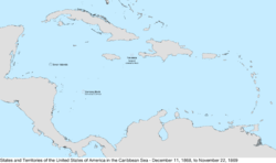 Map of the United States in the Caribbean Sea from December 11, 1868, to November 22, 1869