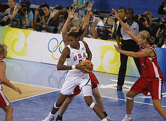 Lisa Leslie - Leslie playing against Spain during the 2008 Summer Olympics.