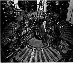 """Synchrotron - The first synchrotron to use the """"racetrack"""" design with straight sections, a 300 MeV electron synchrotron at University of Michigan in 1949, designed by Dick Crane."""