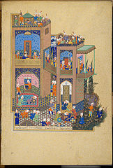 Zahhak discusses his dream with Arnavaz (Museum of Islamic Art, Doha, Ms 41)