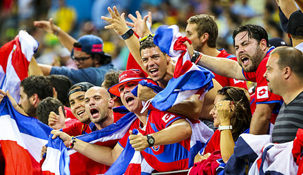 Costa Rica supporters at the 2014 FIFA World Cup in Brazil Uruguay - Costa Rica FIFA World Cup 2014 (29).jpg