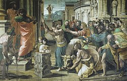 Renaissance painting depicting the sacrifice at Lystra. In an ancient Greek townscape, a cow is brought before a small altar, and held by a kneeling man with her head down while another raises an axe to kill her. A group of people look with worshipful gestures towards two men who stand on the steps behind the altar. One of the men turns aside and rends his clothes, while the other speaks to the people. A crutch lies abandoned in the foreground and a statue of Hermes is at the end of the square.