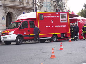Paris Fire Brigade - Mobile HQ of Paris Fire Brigade in action.