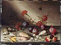 Van der Ast, Balthasar, Still Life, Shells, Carnations, Lily of the valley, Crocii, Rose, Plums, Cherries and Insests on a Ledge, 1630s-50s.jpg