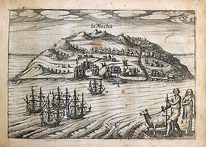 Mocha Island - Depiction of Isla Mocha during an incursion by a Dutch pirate fleet in 1616.  From the book that narrates the adventures of Dutch pirate Joris van Spilbergen.