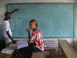 Education in Haiti - Vector calculus in a Haitian classroom (Port-au-Prince, 2010).