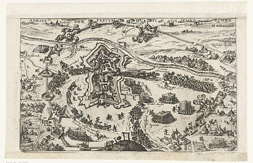 Verovering van Gulik, 1621 Abriss der Festung Gulich von Spainischen eingenomen (titel op object), RP-P-OB-80.979