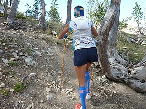Vertical Kilometer - A sky runner during a climb of the vertical kilometer