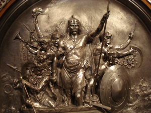 Merovech - Silvered brass mounting from 1867 depicting Merovech victorious in battle, by Emmanuel Frémiet.