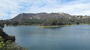 Cahuenga Peak - Burbank Peak, Cahuenga Peak, and Mount Lee viewed across the Hollywood Reservoir