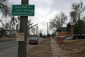 Villa Park, Denver - One of the streets in the Villa Park Neighborhood.