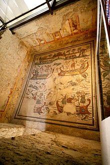 Mosaico del IV secolo incentrato sulla pesca. Villa romana del Casale, Piazza Armerina (Enna)
