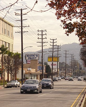 Vineland Avenue - Vineland Avenue north of Camarillo Street in North Hollywood, looking south towards the Hollywood Hills.