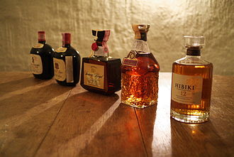 Japanese whisky - A lineup of Suntory whisky bottles