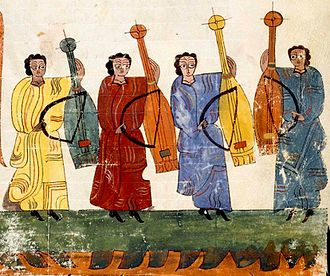 "Viol - Spanish instruments from before the name viol or vihuela was coined, played with a bow. From Commentary on the Apocalypse, Codice VITR 14.1, ""second third of 10th century."""