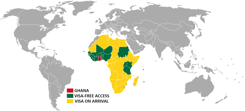 Countries that require visa to travel to Ghana