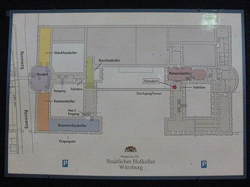 Würzburger Residenz. Staatlicher Hofkeller (Weinkeller) Grundriss