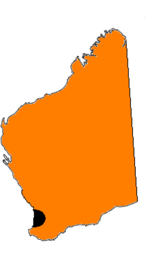 WOW (TV station) - The area allotted to WOW for television broadcasting (shown in orange). The Perth license area is shown in black.