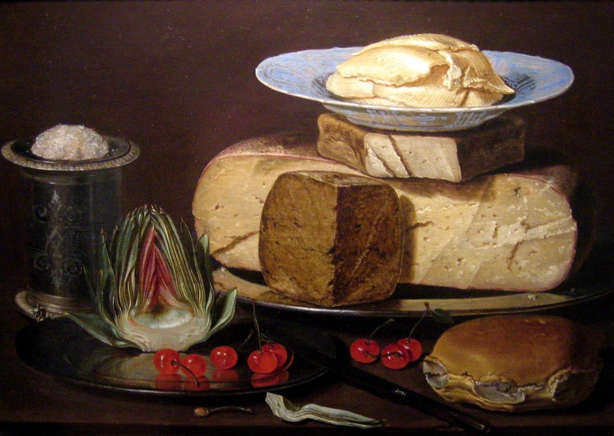 Still life with cheese, artichoke and cherries