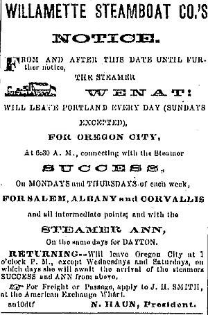 Wenat (sternwheeler) - Image: WSB Co 17 Sep 1868 Oregonian p 1