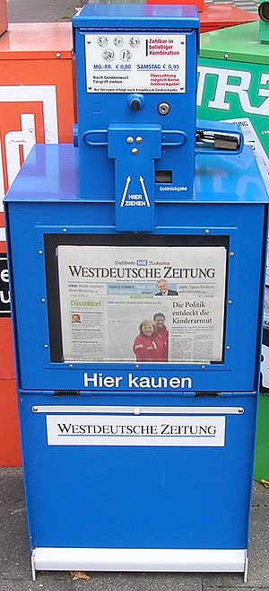 Newspaper vending machine - A German newspaper rack