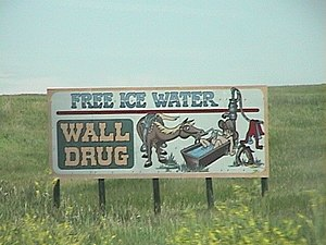 Tourist trap - A billboard advertising Wall Drug's products